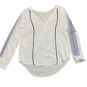 Embroidered navy white Large Shirt EXC++ (B)